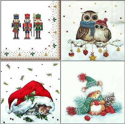 4 Vintage Table Paper Napkins for Party Lunch Decoupage  Christmas Animals 1/1