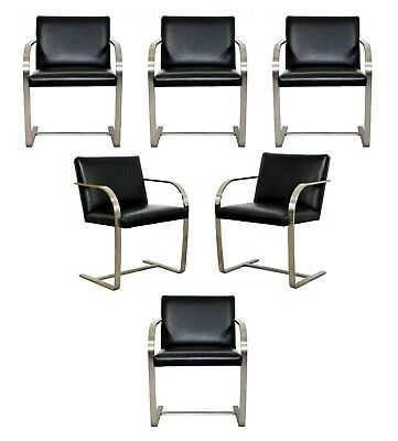 Mid Century Modern Set 6 Knoll BRNO Brushed Steel Cantilever Dining Armchairs