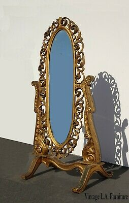 Antique French Provincial  Louis XVI Rococo Gold Gilt Cheval Mirror w Scrolls