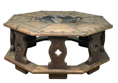 Antique Octagon Walnut Table with Braising Pan Iron Wood Medieval Gothic Style
