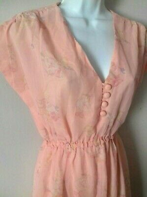 Vintage 1930s 1940s Dress Frock Deco Downton Peaky Blinders pink floral Film TV