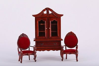 1:12 Scale Dollhouse Mahogany Furniture Hutch Chairs Dining Room Miniature