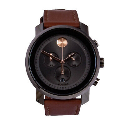 8073e7037 Movado Bold 3600421 Men's Chronograph Grey Dial Brown Leather Strap Watch  44 mm