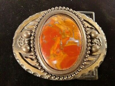 Beautiful Vintage Polished Petrified Wood & Brass Belt Buckle Red Brown Color