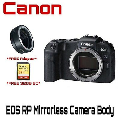 Canon EOS RP Mirrorless Digital Camera + Mount Adapter EF-EOS R Kit + 32 Sandisk