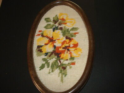 VINTAGE Oval Framed FLORAL Tapestry PICTURE