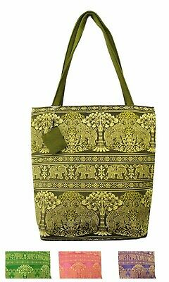 Thai Silk Handbag with Coin Pouch Elephant Embroidered Tote Gold Brocade Purse