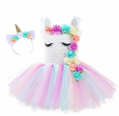 7312d71ec83f7 Unicorn Tutu Dress w/ Headband Birthday Party Dress Costume For Girls US  SELLER