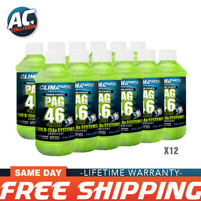 Premium Synthetic AC Refrigerant Oil PAG46-8UV Vis 8oz for R134a Systems 12 Unit