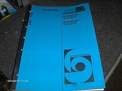 Bang & Olufsen Service Manual Beocord 6000  & Beocord 8002