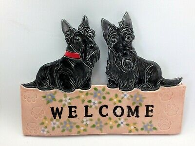 Scottie dog Welcome sign plaque ceramic art sculpture OOAK hand made by artist