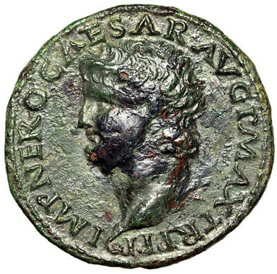 HIGH QUALITY PORTRAIT Nero Coin 66 AD Certified Authentic & Large GENUINE Big