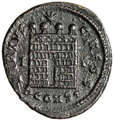 """RARE Architectural Roman Coin """"Campgate, Wall"""" Arles 338 CERTIFIED High Quality"""