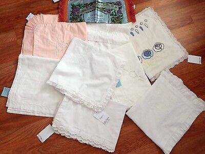 Lot 8 pc Vintage Linens Pillow Covers Layovers VERY NICE Inventory Reduction