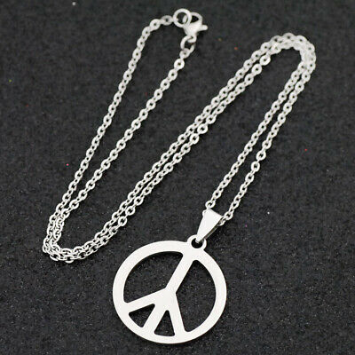 10pcs cool peace sign Anti-war Stainless Steel Pendant Necklace