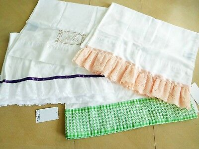 Lot 4 pr Vintage New Mix Cotton Fancy Pillowcases VERY NICE Inventory Reduction