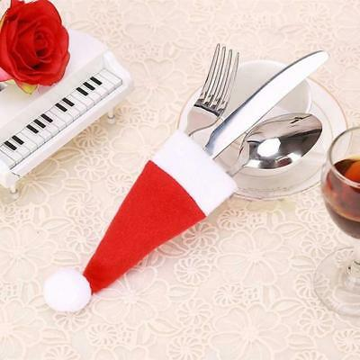 Christmas Hat Cutlery Fork Tableware Holder Xmas Party Decoration SW