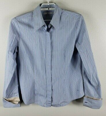 32489001 Tommy Hilfiger Women's Button Down Long Sleeve Shirt-Blues/Striped-Size 14