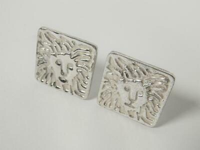 Vintage Anne Klein Lion Head silver tone clip on earrings