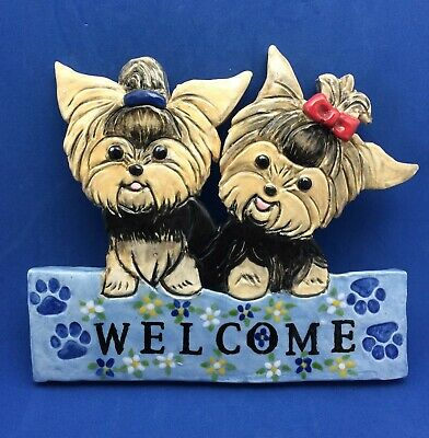 Yokie dog Welcome sign plaque ceramic art sculpture OOAK hand made by artist