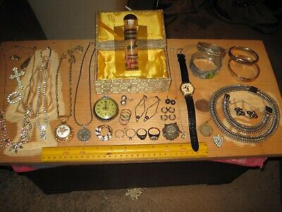 vintage junk drawer lot,jewelry sterling silver rings,snuff bottle,watches,cuffs
