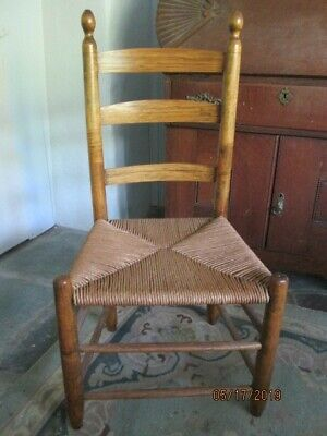 Antique Shaker ladder back chair fully refinished circa 1800