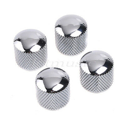 4Pcs Dome Standard Guitar Bass Knob Metal Chrome
