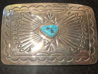 Vintage Sterling silver Navajo style turquoise stone Western belt buckle