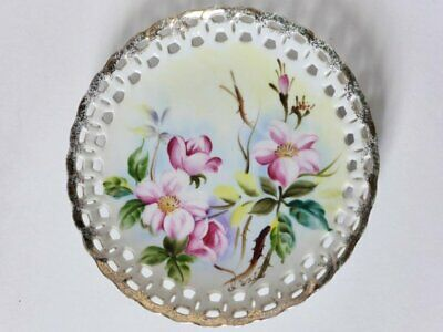Wall Plate with Pierced Border, Signed by Artist, Decorative China Latticework