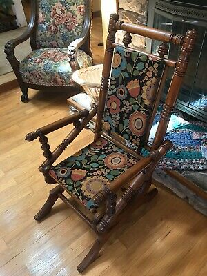 Antique Platform Rocking Chair Maple Wood 19th Century PICK UP ONLY - CHICAGO IL
