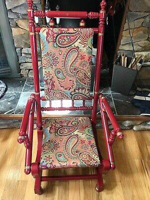 Antique Platform Rocking Chair Maple Wood 19th Century PICK UP ONLY Chicago IL