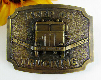 1975 Keep On Trucking Solid Brass Belt Buckle * Bergamot Brass Works Darien, WI