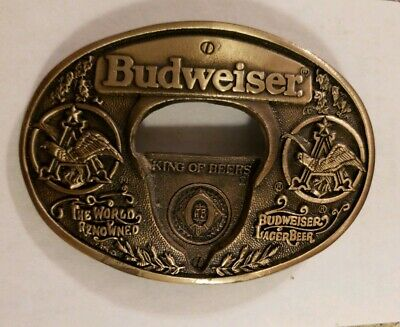 "Vintage BUDWEISER Beer - Belt Buckle/Bottle Opener - Solid Brass - 4"" wide"