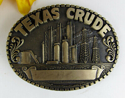 TEXAS Crude Solid Brass Belt Buckle * Petroleum Oil Field Refinery Derrick * NEW