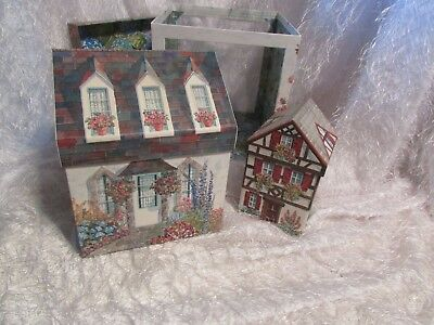 vintage nesting boxes blue shades of cottages 3 in set shades of blue w/red.pink
