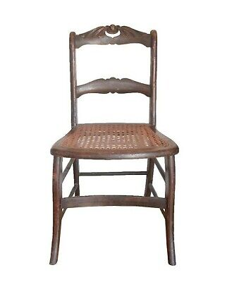 Local P/U Antique Carved Wood Cane Side Chair Rustic Farmhouse Ladder Back