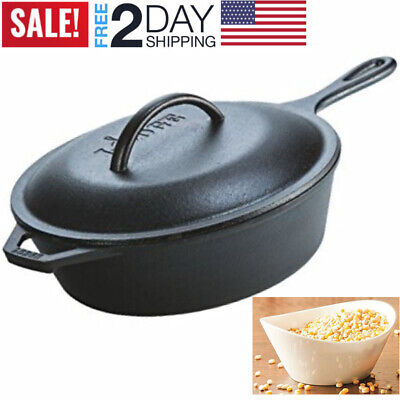 Deep Cast Iron Skillet Frying Baking Soup LODGE Chicken Fryer Ground Beef Lid