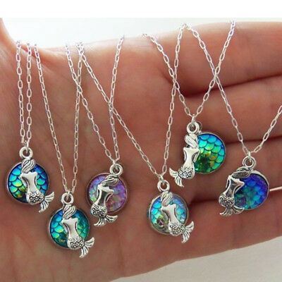 Colorful Women Mermaid Fish Scale Pendant Chic Chain Necklace Party Jewelry SW