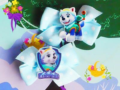 Paw Patrol Everest Pup Snow Dog Puppy Inspired Handmade Dress Costume Hair Clips