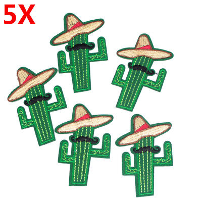 5Pcs/Set Cactus Patches Plant Patch For Cloth Iron on Embroidered Sew For Decor