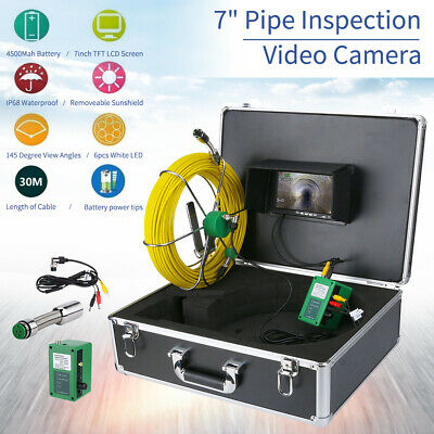 """7"""" LCD 30M Pipe Inspection 1000 TVL Video Camera LED Waterproof Drain Pipe Sewer"""
