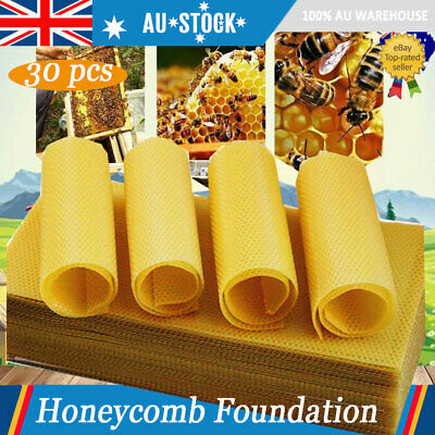 30x/Set Beekeeping Nest Box Foundation Beeswax Honeycomb Sheets Beekeeper Yellow