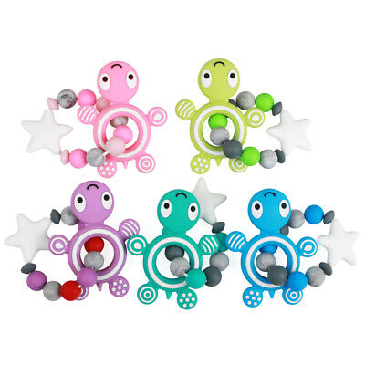 Silicone Teether Bracelet Food Grade Tortoise Rodents Turtle Baby Beads FBA FREE