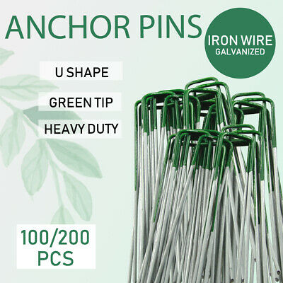 100/200PCS Lawn Tent Anchor U Pegs Weed Mat Fastening Turf Pins Grass Synthetic