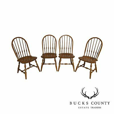 Ethan Allen 1776 Collection Set 4 Maple Bow Back Windsor Dining Chairs