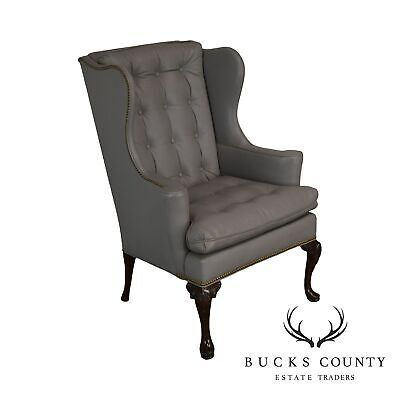 Hickory Chair Co. Grey Tufted Leather Mahogany Queen Anne Wing Chair