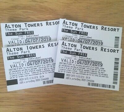 4 x Alton Towers Tickets for Thursday 4th July 2019, 4/7/19