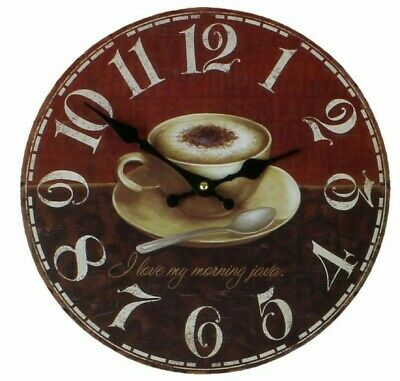 Distressed Vintage Style Round Wall Clock Morning Coffee Cup