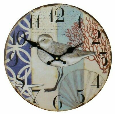 Distressed Vintage Style Round Wall Clock Bird & Shell Nautical