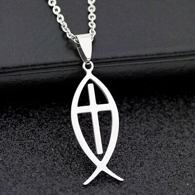 10pcs cool Ichthys Jesus Fish Pendant Stainless Steel chain Necklace